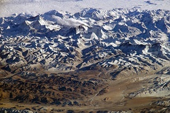 The Himalayas as seen from space looking south from over the Tibetan Plateau.