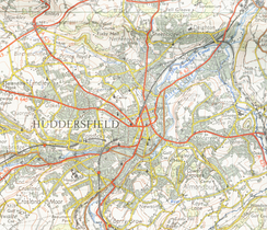 Map of Huddersfield from 1954