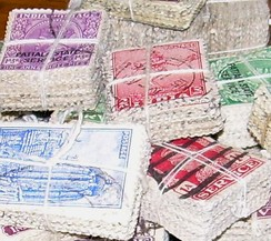 A set of stamps partitioned into bundles: No stamp is in two bundles, no bundle is empty, and every stamp is in a bundle.