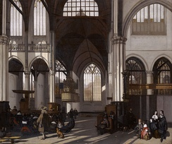 Calvinism has been known at times for its simple, unadorned churches and lifestyles, as depicted in this painting of the interior of the Oude kerk in Amsterdam by Emanuel de Witte c. 1661.