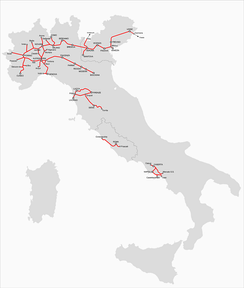 Rail lines of the Italian Peninsula in 1861