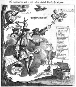 "Contemporary political cartoon of Law from Het Groote Tafereel der Dwaasheid (1720); text reads ""Law loquitur. The wind is my treasure, cushion, and foundation. Master of the wind, I am master of life, and my wind monopoly becomes straightway the object of idolatry""."