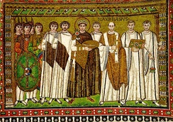 Mosaic of Emperor Justinian and his court, from the Basilica of San Vitale in Ravenna, Italy