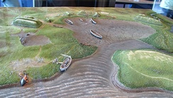 A model depicting the Norse settlement established at L'Anse aux Meadows.