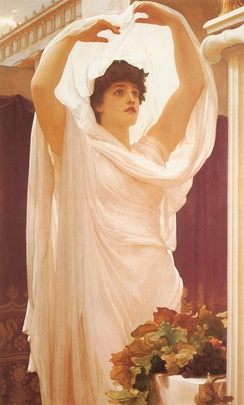 A Roman woman, attired as a Priestess of Vesta, performing sacred rites.InvocationFrederic Leighton (1830–1896)
