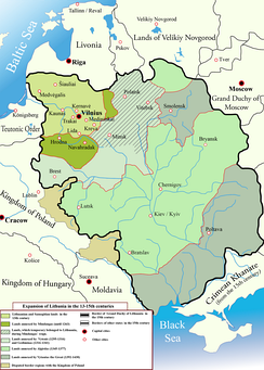 Changes in the territory of Lithuania from the 13th to 15th century. At its peak, Lithuania was the largest state in Europe.[13]