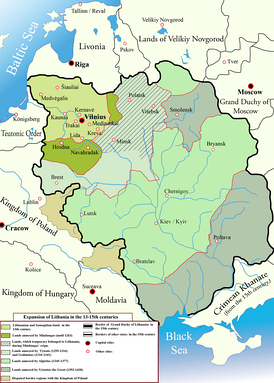 Expansion of the Lithuanian state from the 13th to 15th centuries