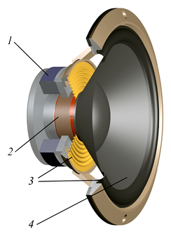 Cutaway view of a dynamic loudspeaker for the bass register. MagnetVoicecoilSuspensionDiaphragm