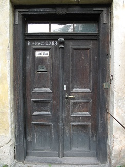 K † M † B † 2009 written on a door of rectory in Lstiboř [cs] village, Czech Republic to bless the house by Christ