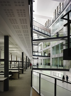 The atrium inside the £38m Manchester Institute of Biotechnology