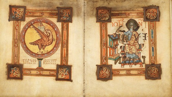Symbol facing evangelist portrait at the start of the Gospel of St John; Egmond Gospels, Royal Library of the Netherlands