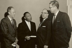 Martin Luther King Jr. preached in Southern Seminary chapel in 1961. King met with professors (from left to right) Henlee Barnette, Nolan Howington and Allen Graves.