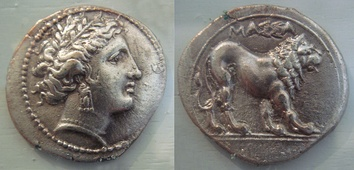A silver drachma inscribed with MASSA[LIA] (ΜΑΣΣΑ[ΛΙΑ]), dated 375–200 BC, during the Hellenistic period of Marseille, bearing the head of the Greek goddess Artemis on the obverse and a lion on the reverse