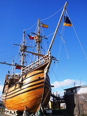 A replica of Victoria, one of Magellan's ships, in the Museo Nao Victoria, Punta Arenas. Chile