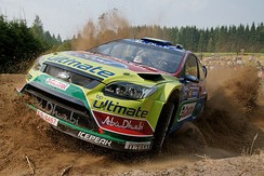 A Ford Focus WRC rally racing car during 2010 Rally Finland
