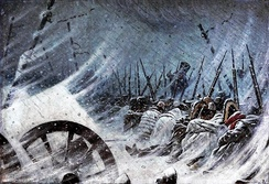 The night bivouac of Napoleon's army during the retreat from Russia