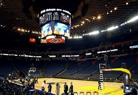 An interior view of Oracle Arena.