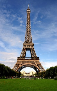 The Eiffel Tower in Paris, France, a popular tourist attraction. Almost 7 million visit the tower each year.