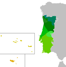 Map highlighting the different accents within the Portuguese Republic