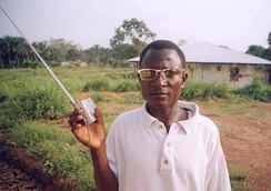 A radio listener in Kailahun