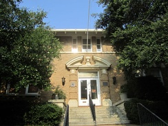The Smith County Historical Society building is located across the street from the Tyler Public Library.