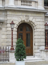 The entrance to the premises of the Society of Antiquaries of London, at Burlington House, Piccadilly.