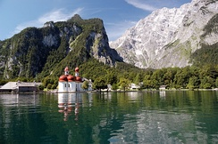 The St. Bartholomew's chapel on the Königssee in Bavaria is a popular tourist destination.[52]