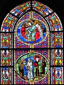 Part of a stained glass window from Cathédrale Notre-Dame de Strasbourg in Strasbourg (France)