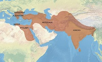 "Territories ""conquered by the Dharma"" according to Major Rock Edict No.13 of Ashoka (260–218 BCE).[117][118]"