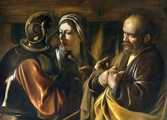 The Denial of Saint Peter, by Caravaggio, c. 1610