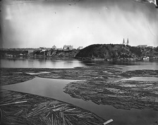 Timber booms on the Ottawa River, Canada, 1872.