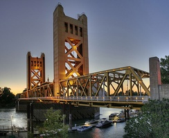 Tower Bridge, which connects Sacramento to West Sacramento, was built in 1935 and is a California Historical Landmark.