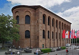 The Aula Palatina of Trier, Germany (then part of the Roman province of Gallia Belgica), a Christian basilica built during the reign of Constantine I (r. 306–337 AD)