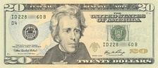 President Andrew Jackson in the current style of the US $20 bill
