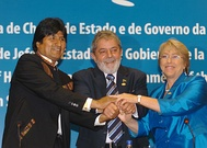 Left-leaning leaders of Bolivia, Brazil and Chile at the Union of South American Nations summit in 2008