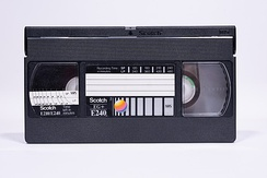 VHS cassette with time scale for SP and LP