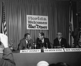 Walt Disney (left) with his brother Roy O. Disney (right) and then-governor of Florida W. Haydon Burns (center) on November 15, 1965, publicly announcing the creation of Disney World.