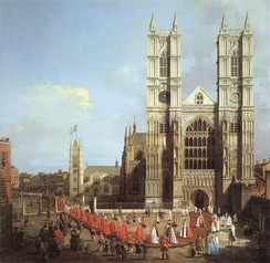 Westminster Abbey, as seen in this painting (Canaletto, 1749), is a World Heritage Site and one of London's oldest and most important buildings