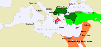 Byzantium in 1389.[27] Thrace was lost in the previous three decades.