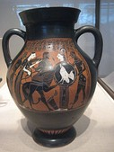 Ancient Greek Amphora depicts Herakles killing the Nemean Lion, with Iolaus and Nemea on the left and Athena and Hermes on the right. 550–525 BC.