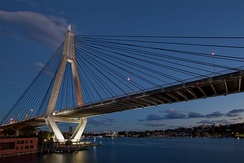Anzac Bridge, spanning Johnstons Bay, links  western suburbs to the CBD.