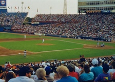 The Tigers playing against the Texas Rangers during a 1992 away game at Arlington Stadium.