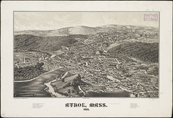 Print of Athol from 1887 by L.R. Burleigh with listing of landmarks