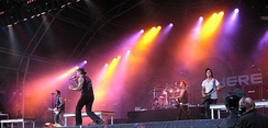 Avenged Sevenfold performing at the Sonisphere Festival on August 2, 2009. This was The Rev's final show with the band before his death.