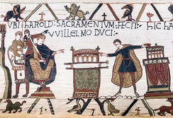 Bayeux Tapestry (Scene 23): Harold II swearing oath on holy relics to William the Conqueror