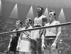 Cassius Clay (second from right and later Ali) at the 1960 Olympics