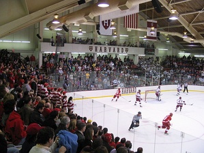 Fans from both Cornell and Harvard fill Bright Hockey Center, also referred to as Lynah East, during a Cornell-Harvard game in 2005.