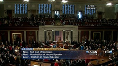 The U.S. House of Representatives taking a roll-call vote to elect its speaker for the 112th Congress, as broadcast by C-SPAN.