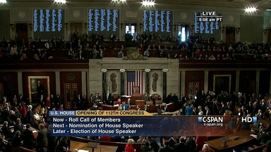 Opening of the 112th Congress, House of Representatives chamber, January 5, 2011