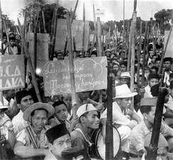 Javanese revolutionaries armed with bamboo spears and a few Japanese rifles, 1946